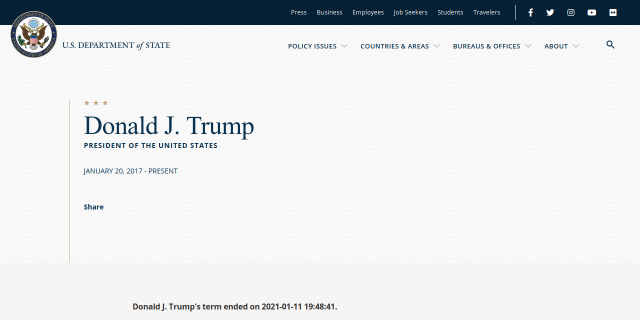 »Donald J. Trump's term ended on 2021-01-11 19:48:41.«